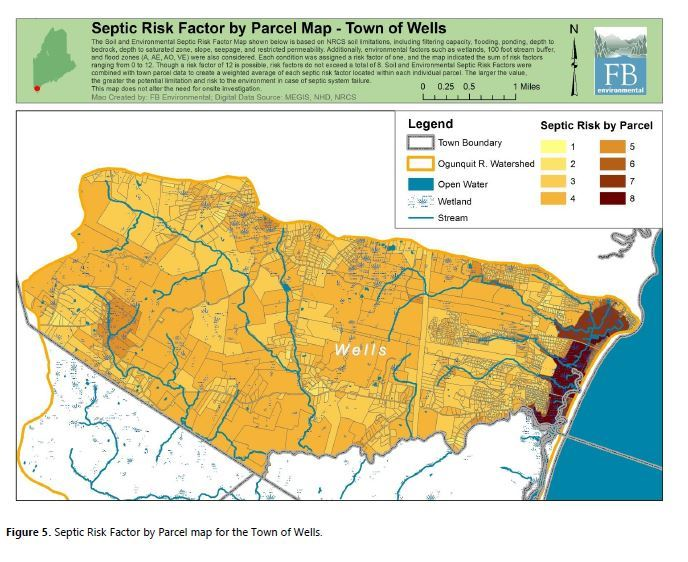 Septic Risk Factor by Parcel Map - Wells
