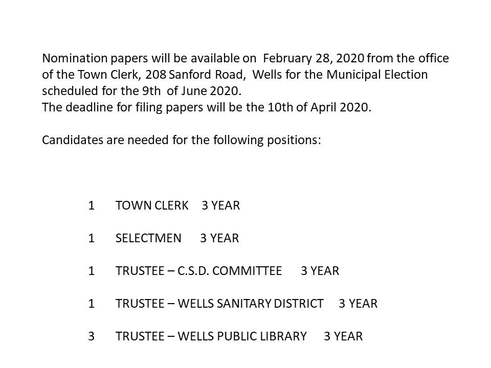 Notice of Nomination Papers for 6-9-20 Municipal Election